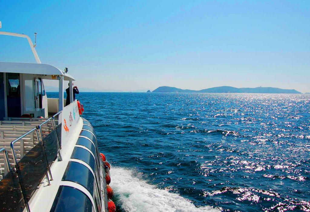 Lateral del Catamarán Visión Dous por el mar