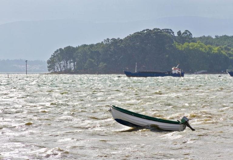 vistas de las barcas en la zona próxima a cortegada